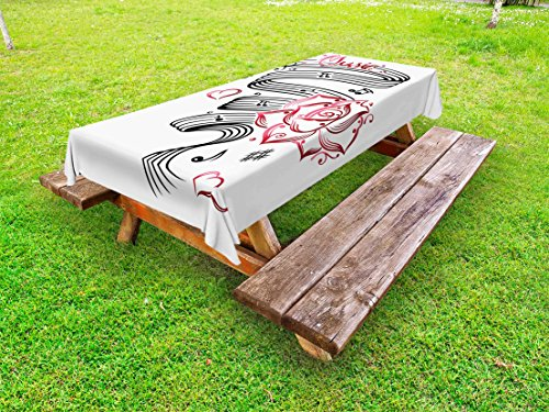 Ambesonne Tattoo Outdoor Tablecloth, Language of Love Valentine's Musical Inspiration on Sheet with Rose Hearts, Decorative Washable Picnic Table Cloth, 60 X 120 Inches, White Black and Pink (Tattoo Rose Inspiration)