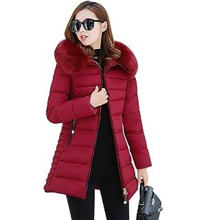 NiSeng Mujer Abrigo Chaqueta Slim Fit Espesar Pelaje Collar Parka Con  Capucha Manga Larga Chaquetas Outerwear d2cfbc5bef7