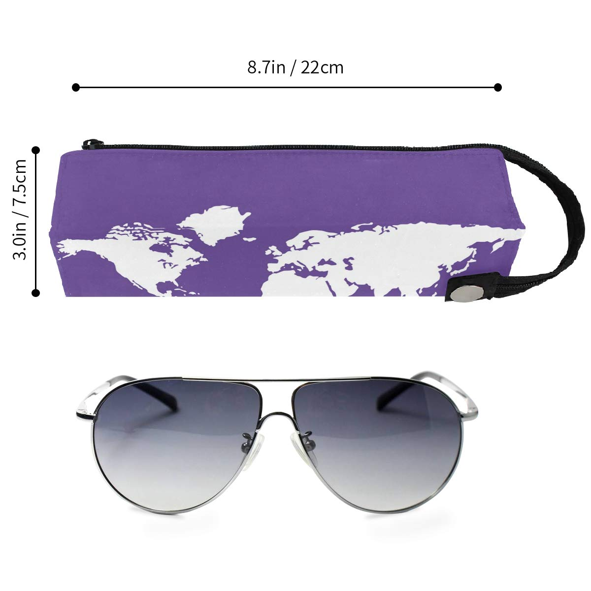 Glasses Case Purple World Maps Zipper Soft Sunglasses Ball Pen Bag Protective Pouch