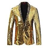 Cloudstyle Men's Sport Coat Slim Fit Notched Lapel Sequins Dance Party Blazer Jacket,Golden-silver,Large