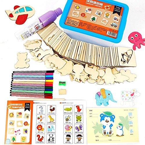 AOLVO木製図面ステンシルテンプレートToddlers Baby Kids Paintingおもちゃセットクリエイティブ動物テンプレート12水彩ペンで、おもちゃオーガナイザーボックス