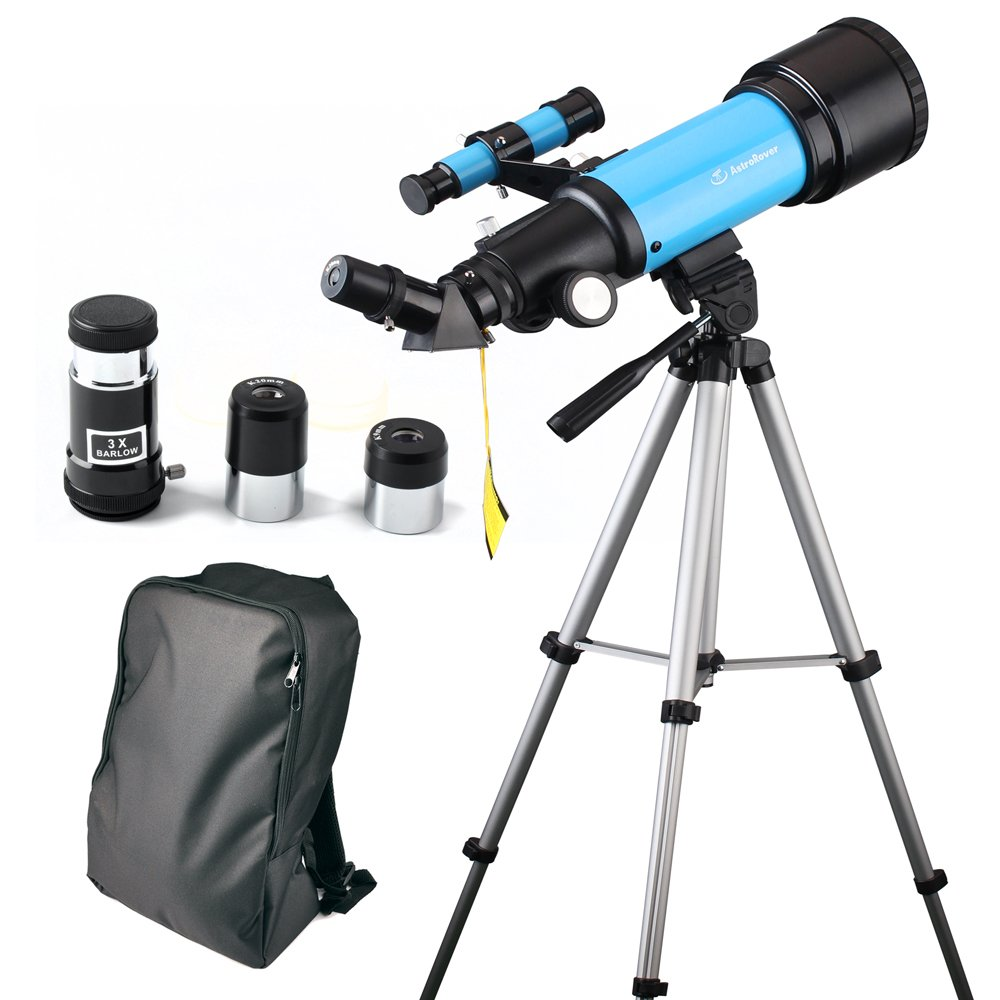 Telescope 70mm Astronomical Refracter Scope for Kids and Astronomy Beginners, Travel Scope with Tripod & Telescope Smartphone Adapter- Perfect for Children Educational and Gift (Blue)