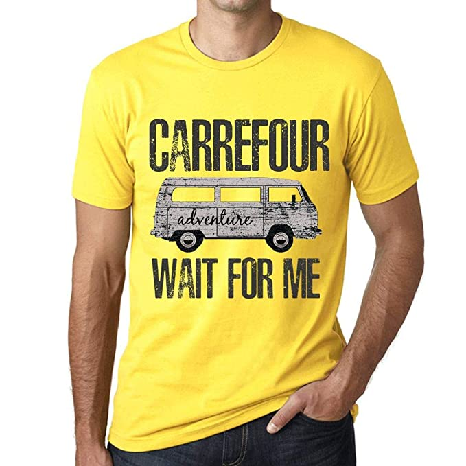 One in the City Hombre Camiseta Vintage T-Shirt Gráfico Carrefour Wait For Me Amarillo: Amazon.es: Ropa y accesorios