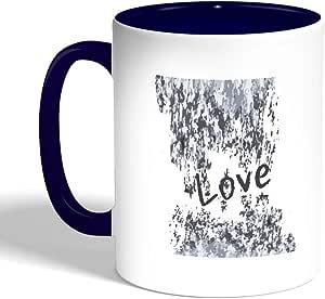 love Printed Coffee Mug, Blue Color