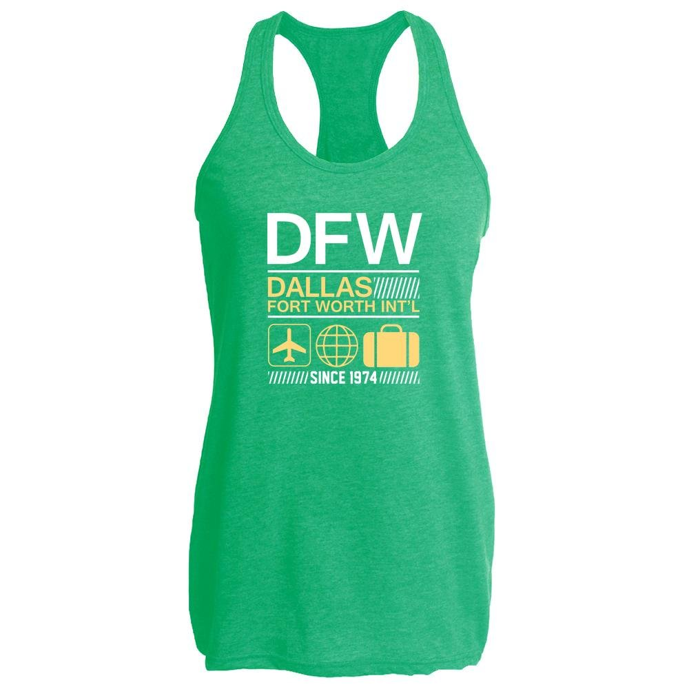 DFW Dallas Fort Worth International Airport Travel Heather Kelly L Womens Tank Top by Pop Threads