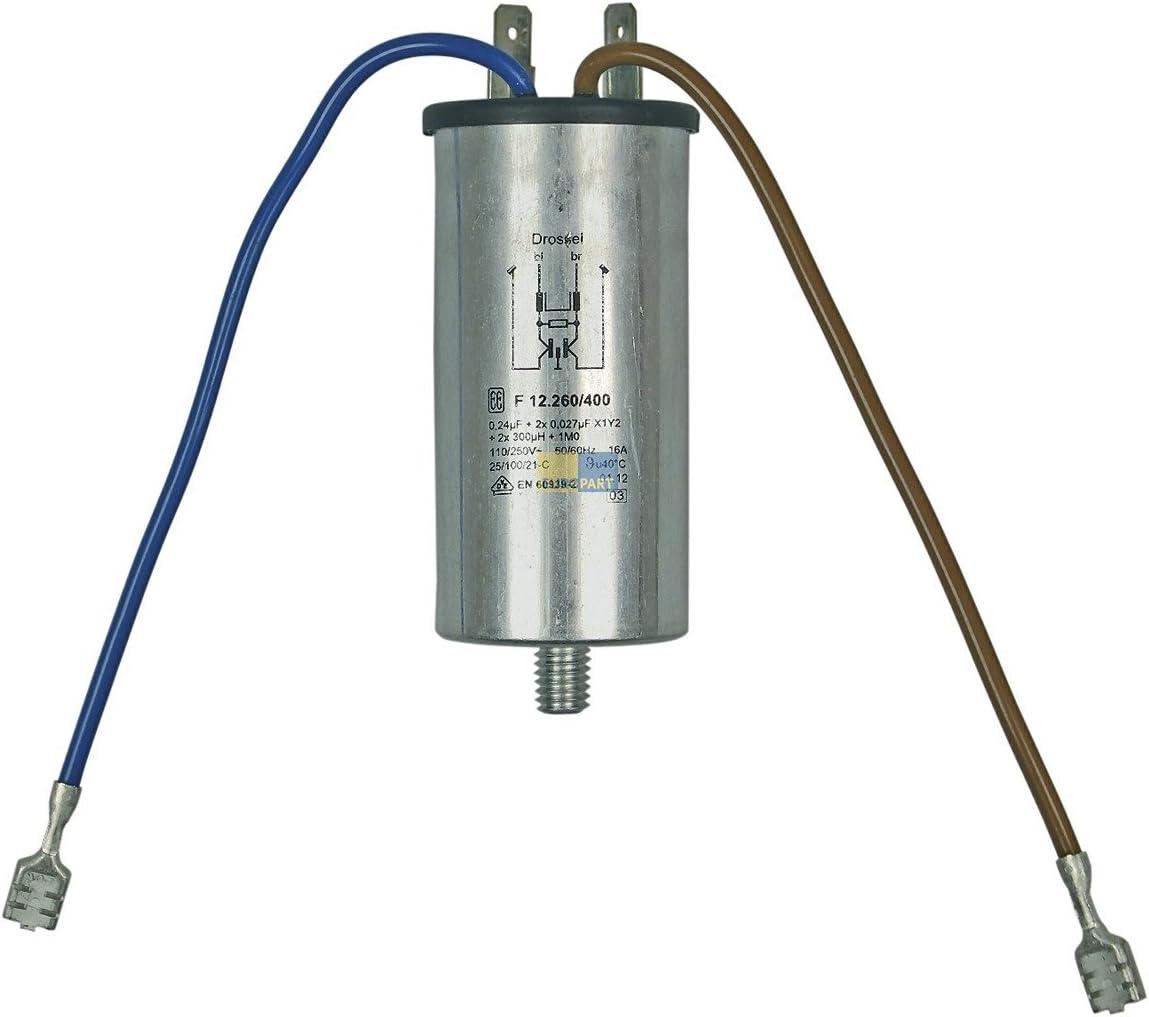 Antiparasitario Protección 0,24µf Cancelación del filtro condensador lavadora como Bosch, Siemens y Miele