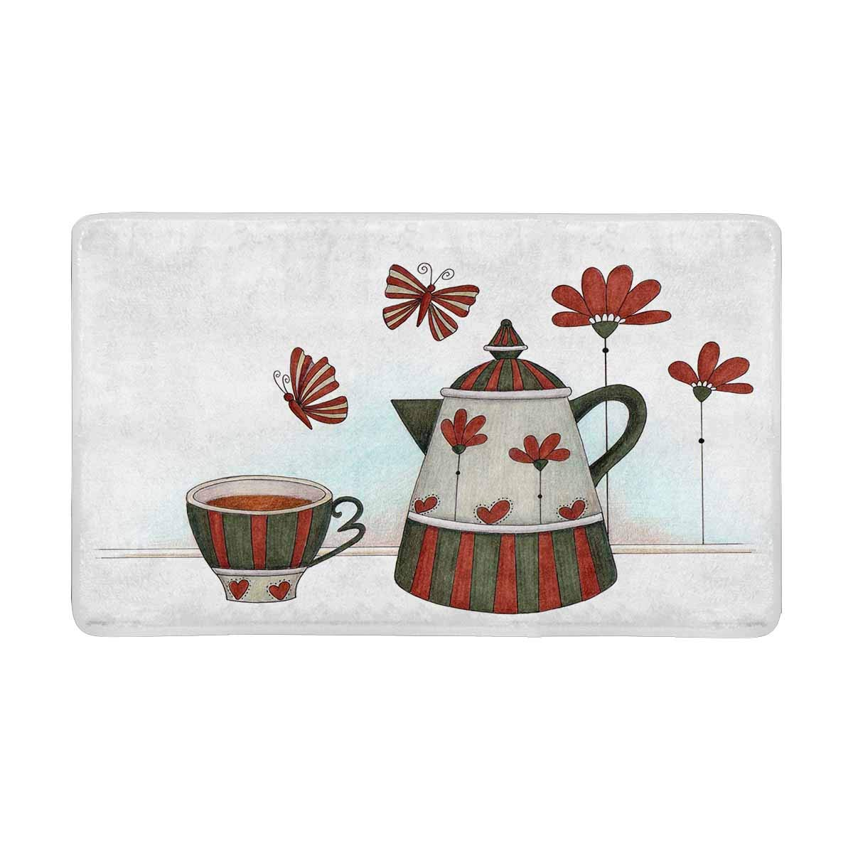 InterestPrint Cup and Teapot Country Style of Cup and Teapot Anti-Slip Door Mat Home Decor, Personalized Indoor Entrance Doormat Rubber Backing Extra Large 30 X 18 Inches