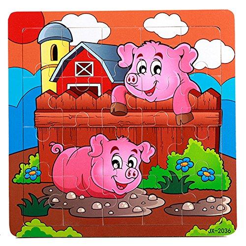 Ouneed® Puzzle en Bois Coque Jeux d'Eveil pour 1-5 ans (Cochonnet)