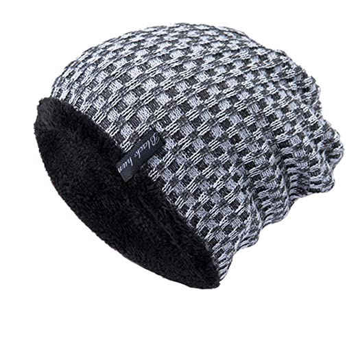 5b400e2830a52 PASATO Sale!Men Women Plaid pattern Baggy Warm Crochet Winter Wool Knit Ski  Beanie Skull Slouchy Caps Wild Hat at Amazon Women s Clothing store