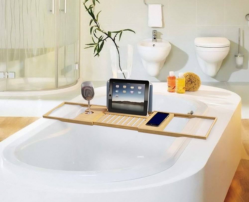 Amazon.com: Bath Dreams Bamboo Bathtub Caddy Tray with Extending ...