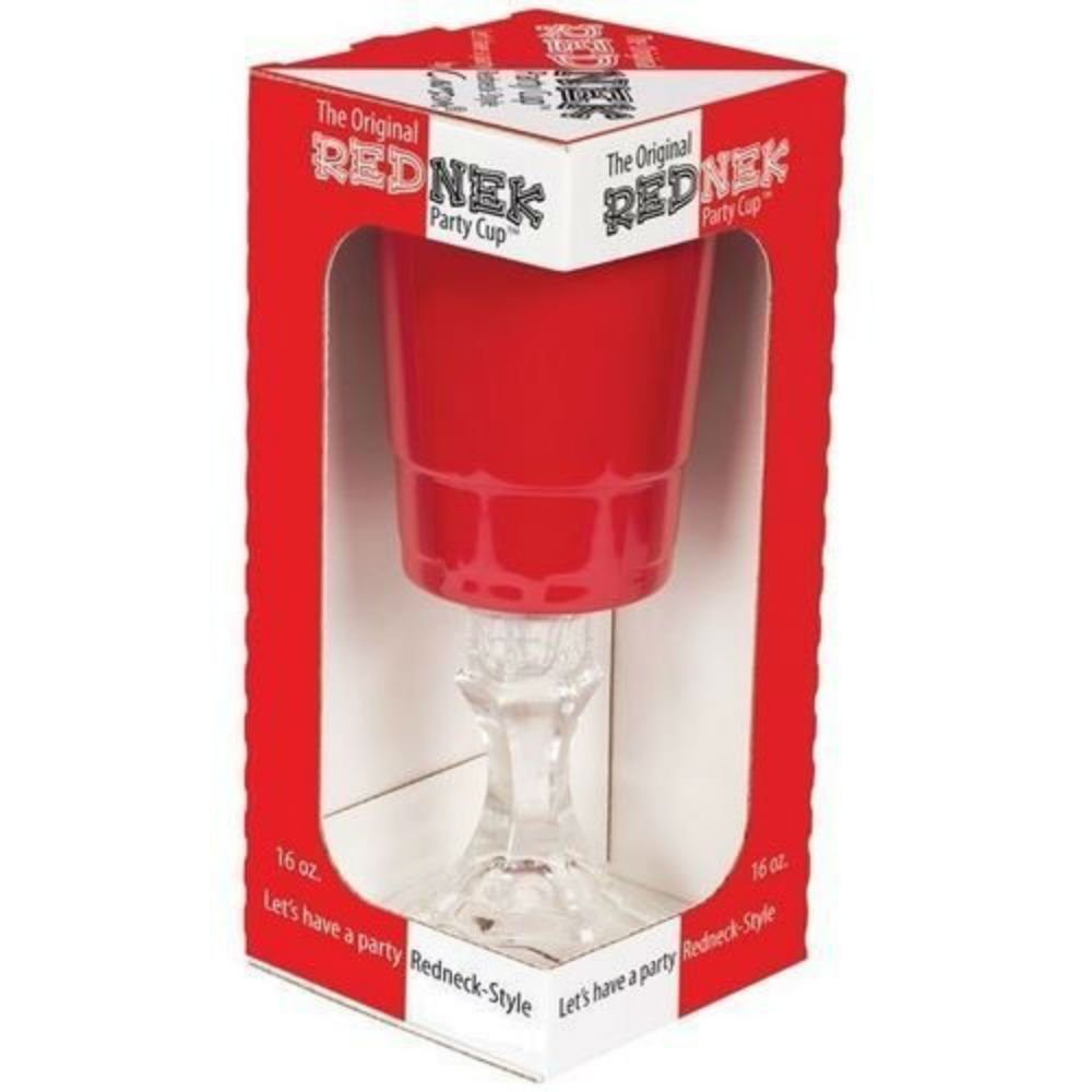 Carson Home Accents The Original Red Nek Red Party Cup with Clear Base, 16-Ounce.