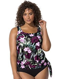 8cc171ffe163d Swimsuits for All Women's Plus Size Tropical Floral Blouson Tankini Top