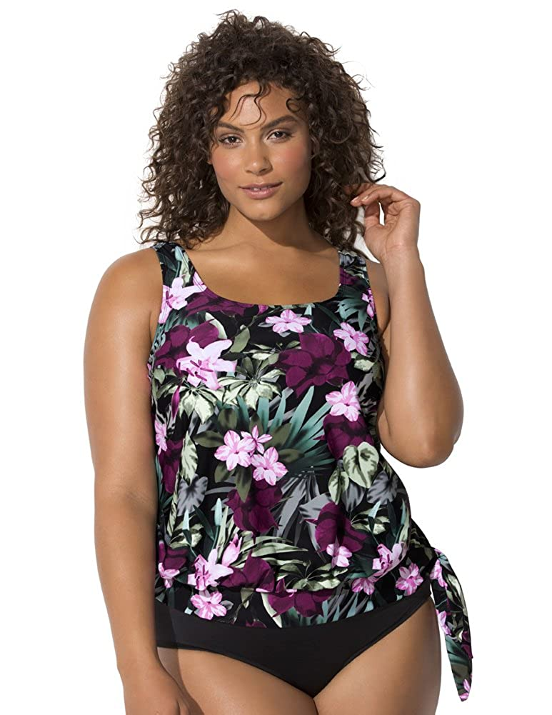 Swimsuits for All Women's Tropical Floral Blouson Tankini Top swimsuitsforall 641456-pn