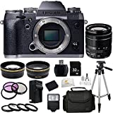 Fujifilm X-T1 16 MP Compact System Camera with 3.0-Inch LCD (Body Only) (Graphite Silver) + XF 18-55mm f/2.8-4 R LM OIS Zoom Lens + 32GB Bundle 20 PC Accessory Kit. Includes Wide Angle & Telephoto Lenses + 3 Piece Filter Kit (UV-CPL-FLD) + 4 Piece Macro Filter Set (+1,+2,+4,+10) + 32GB Memory Card + Extended Life Replacement Battery (NP-W126) + Tripod + Case + More