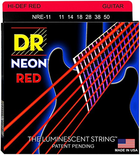 DR Strings Hi-Def NEON Red Coated Medium  Electric Guitar St