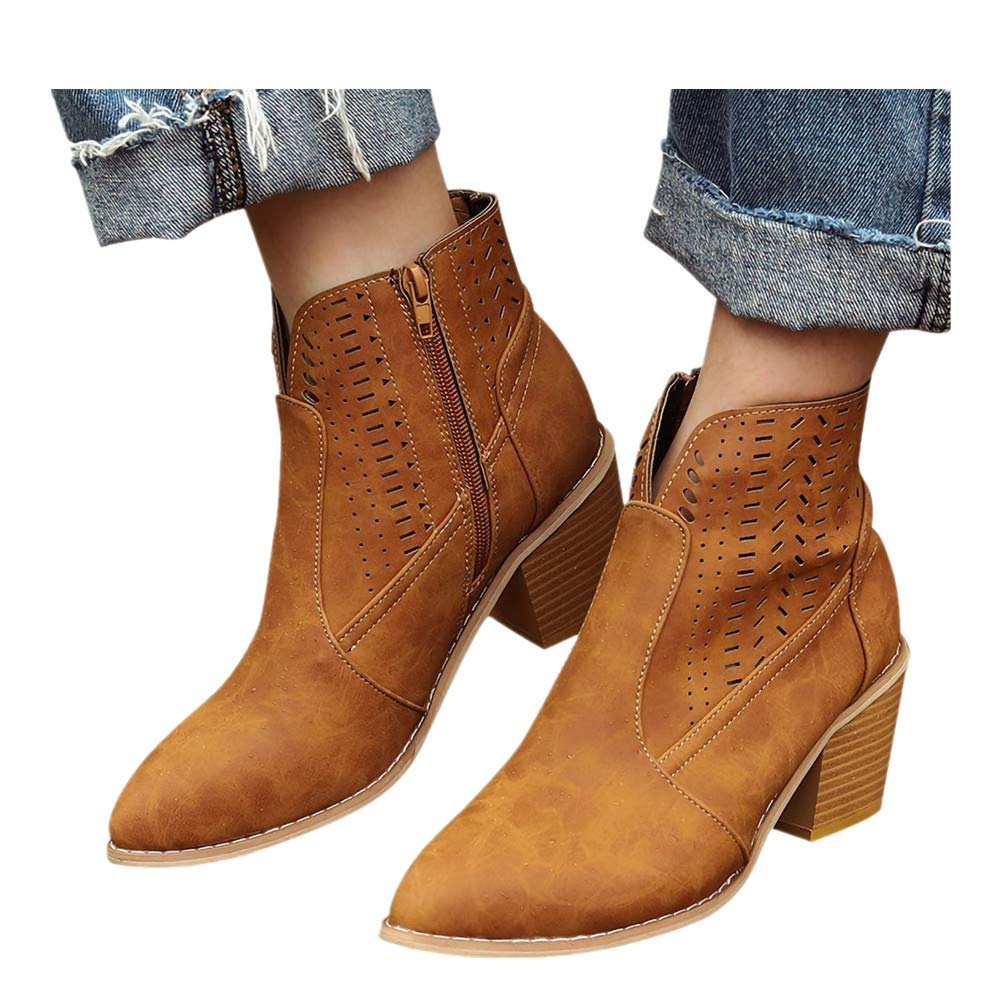 Women's Wide Width Ankle Boots - Mid Chunky Block Heels Round Toe Slip on Side V-Cut Booties (5.5, Brown -1) by Kinrui Women Shoes