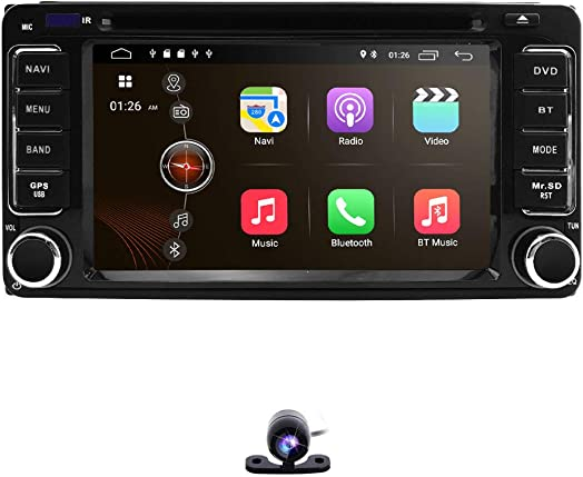 hizpo 6.2 Inch 2 Din Car Navigation Android 9.0 Touch Screen DVD Player AM FM Radio Fit f or Toyota RAV4 Corolla Camry Tundra 4Runner Previa Highlander Yaris Prado Hilux Reversing Backup Camera
