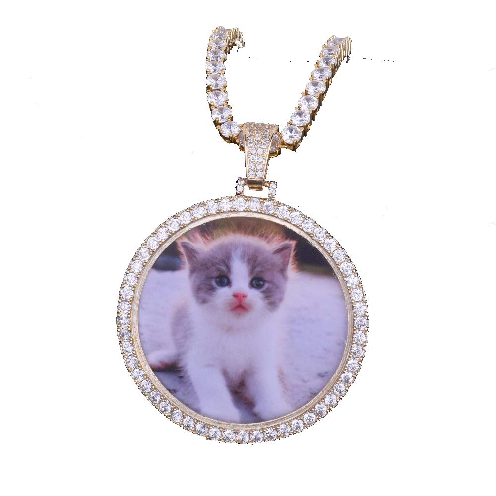 MoCa Jewelry Personalized Custom Photo Medallions Necklace & Pendant 18K Gold Silver Cubic Zircon Hip hop Jewelry Dog Tag Necklace for Men Women, Photo Replaceable (Gold)