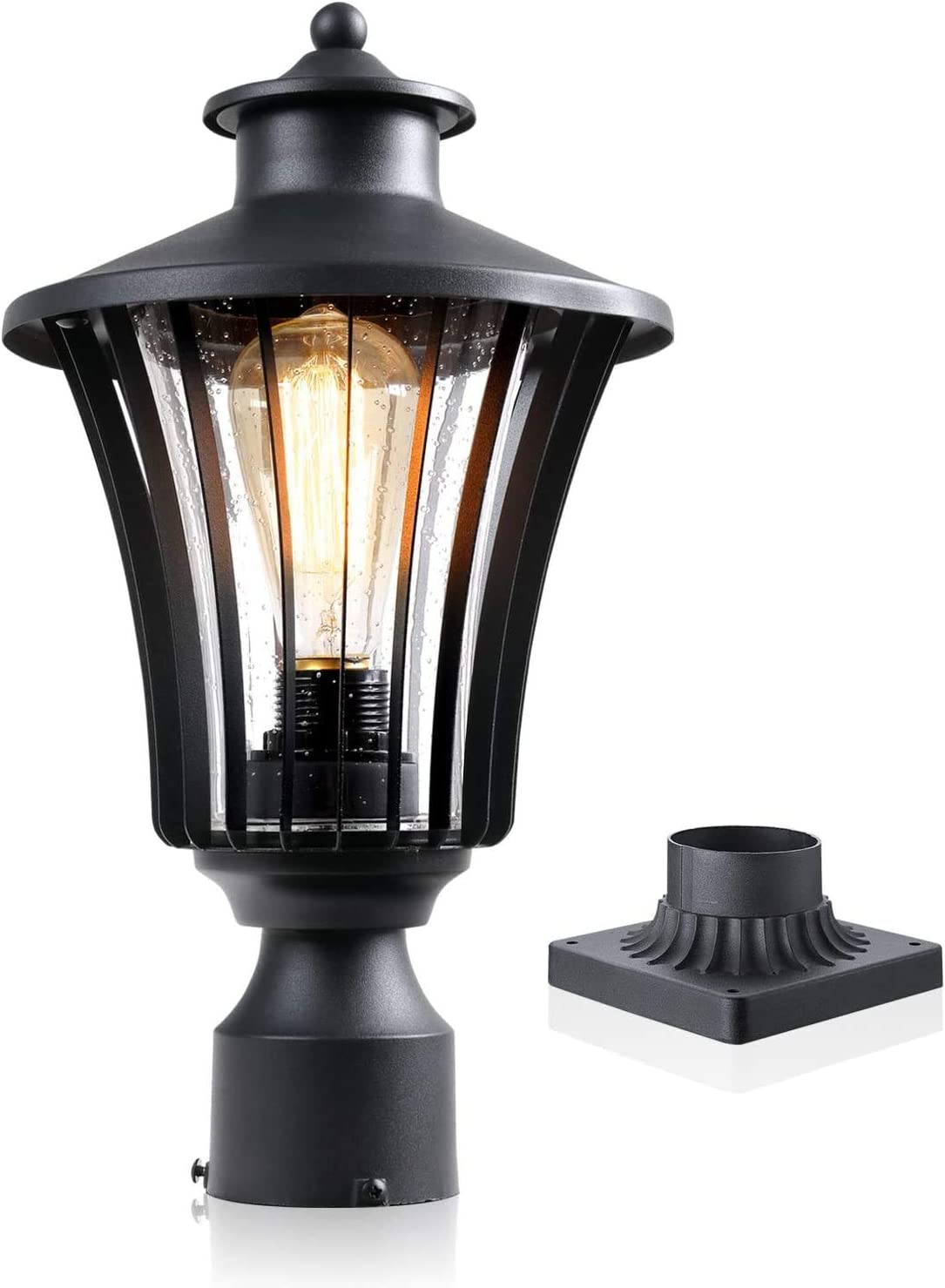 JAZAVA Outdoor Post Light Fixture, Exterior Post Lantern One-Light Mounted Street Light for Patio Entryway with 3-Inch Pier Mount Base, Pier Mount Lights with Black Finish Seeded Glass