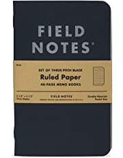 "Field Notes Pitch Black Notebook - 3-Pack - Small Size 3.5"" x 5.5"" - Dot-Graph Paper - 48 Pages (Small Size (3.5"" x 5.5"") 3-Pack - Ruled Paper)"