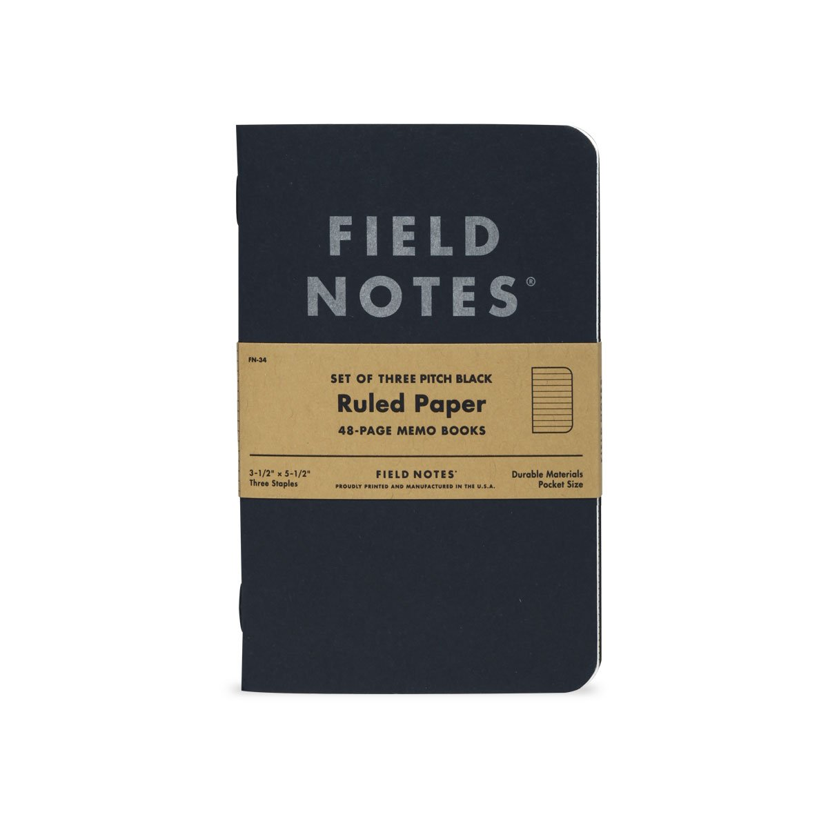 Field Notes Pitch Black Notebook - 3-Pack - Small Size 3.5'' x 5.5'' - Dot-Graph Paper - 48 Pages (Small Size (3.5'' x 5.5'') 3-Pack - Ruled Paper)