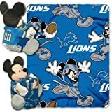 NFL Detroit Lions Mickey Mouse Pillow with Fleece Throw Blanket Set