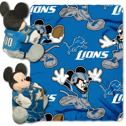 The Northwest Company Officially Licensed NFL Detroit Lions Co Disney's Mickey Hugger and Fleece Throw Blanket Set