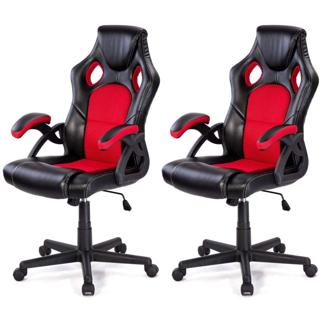 Modern Style High Back Racing Style Gaming Chairs Thick Padded Seat PU Leather Upholstery Adjustable Reclining Tilt Home School Office Furniture - Set of 2 Red #2126 by KLS14