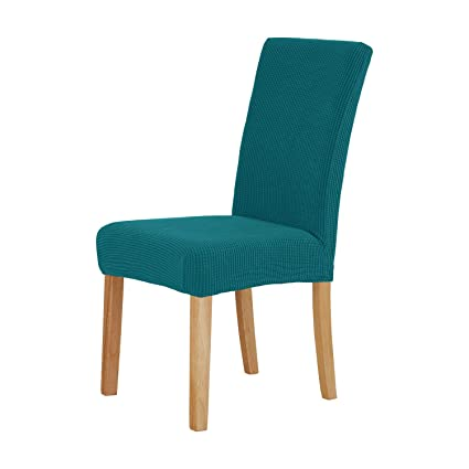 Deconovo Plush Universal Chair Covers Polyster Spandex Strech Seat  Protector Set Of 2, Turquoise