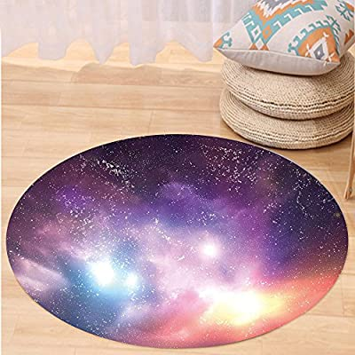 Kisscase Custom carpetGalaxy Outer Space Stars Sky Dreamy Cosmos Universe Nebula Constellation Image for Bedroom Living Room Dorm Purple Coral Light Blue