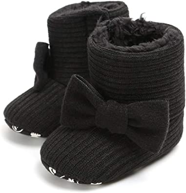Baby Girls Toddler Knit Soft Fur Winter Warm Snow Boots Bowknot Crib Shoes with No-Slip Sole