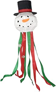"""OUTOUR Snowman Winter Snow Christmas Day New Year Fabric Windsock Wind Sock Hanging Decorations 52"""" Flag Gift for Garden Patio Lawn Backyard Home Yard Porch Balcony Outdoor Decor Party Supplie"""