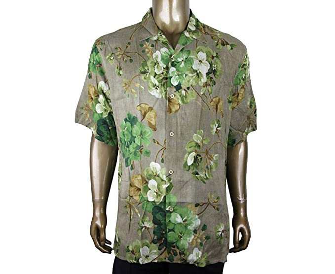 b7e3d7966 Gucci Men's Brown Viscose Green Bloom Geranium Print Shirt 401314 2389 (54  R, Brown