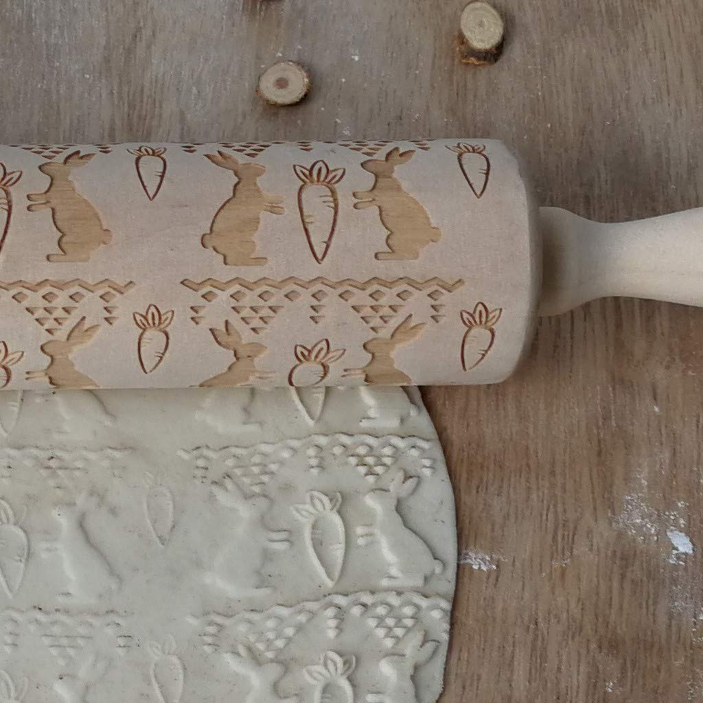 Wood Rolling Pin with Embossed Designs Rolling Pin Engraved Carved Wooden for Kitchen Baking Cookies (B)