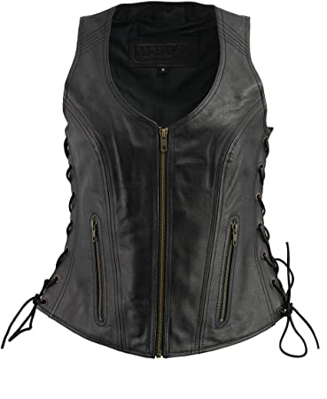 Ladies Black Low Neck Leather Vest w Side Lace /& Zipper Front Closure Gun Pocket