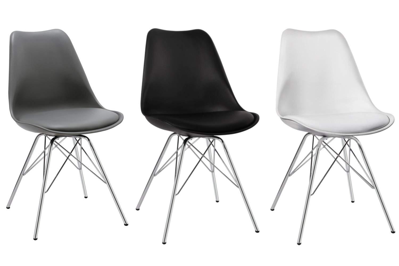 Duhome set di 2 sedia da sala da pranzo in plastica bianco design