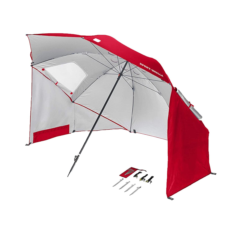 Alek.Shop スポーツ 傘 キャノピー テント 8フィート ピクニック アウトドア ウェザー サンシェルター ビーチ ポータブル レッド   B07KJGWHPV