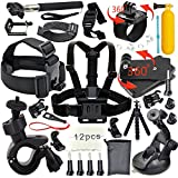 Erligpowht  Common Outdoor Sports Essentials Kit for All GoPro Hero 4 Silver Black Hero 4 3+ 3 2 1 in Parachuting Diving Surfing Rowing Running Cycling Camping And More