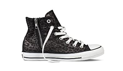 0e4e33e77578 Converse Chuck Taylor All Star Women s Black Leopard Side Zip Hi Top  532433C (Men s 6.5