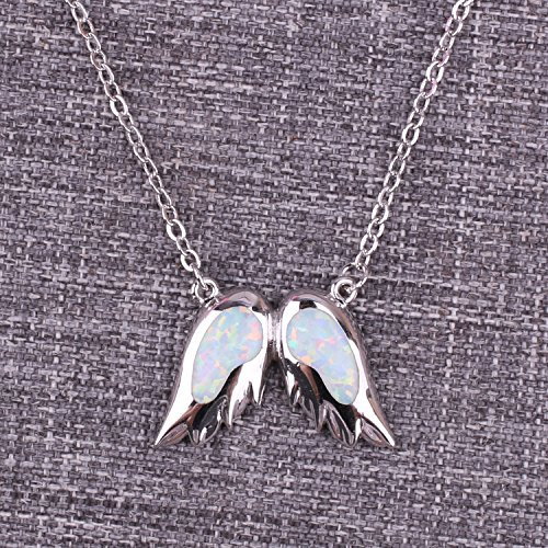 KELITCH Angel Wings Choker Necklace Syuthetic Opal Pendant with 16-18'' Chain by KELITCH (Image #1)
