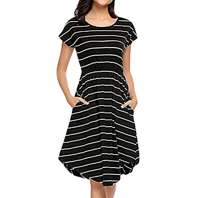 2c04bcfe96 Familizo Women s Fashion Short Sleeve Elastic Waist Striped Maxi Dress with  Pockets Ladies Spring Summer New Trend Stripes Patchwork Casual Daily Party  Work ...