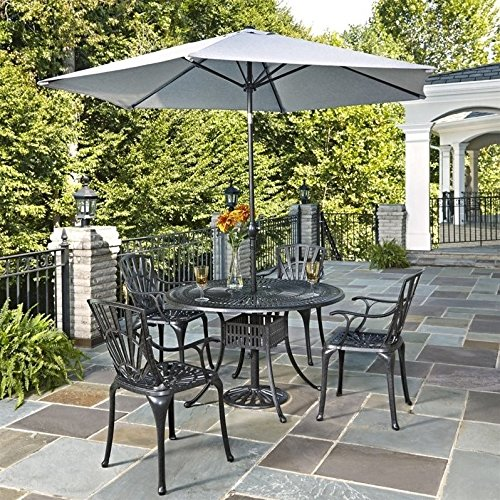 Largo Bedroom Furniture - JumpingLight Largo 6 Piece Patio Dining Set with Umbrella in Charcoal Durable and Ideal for Patio and Backyard