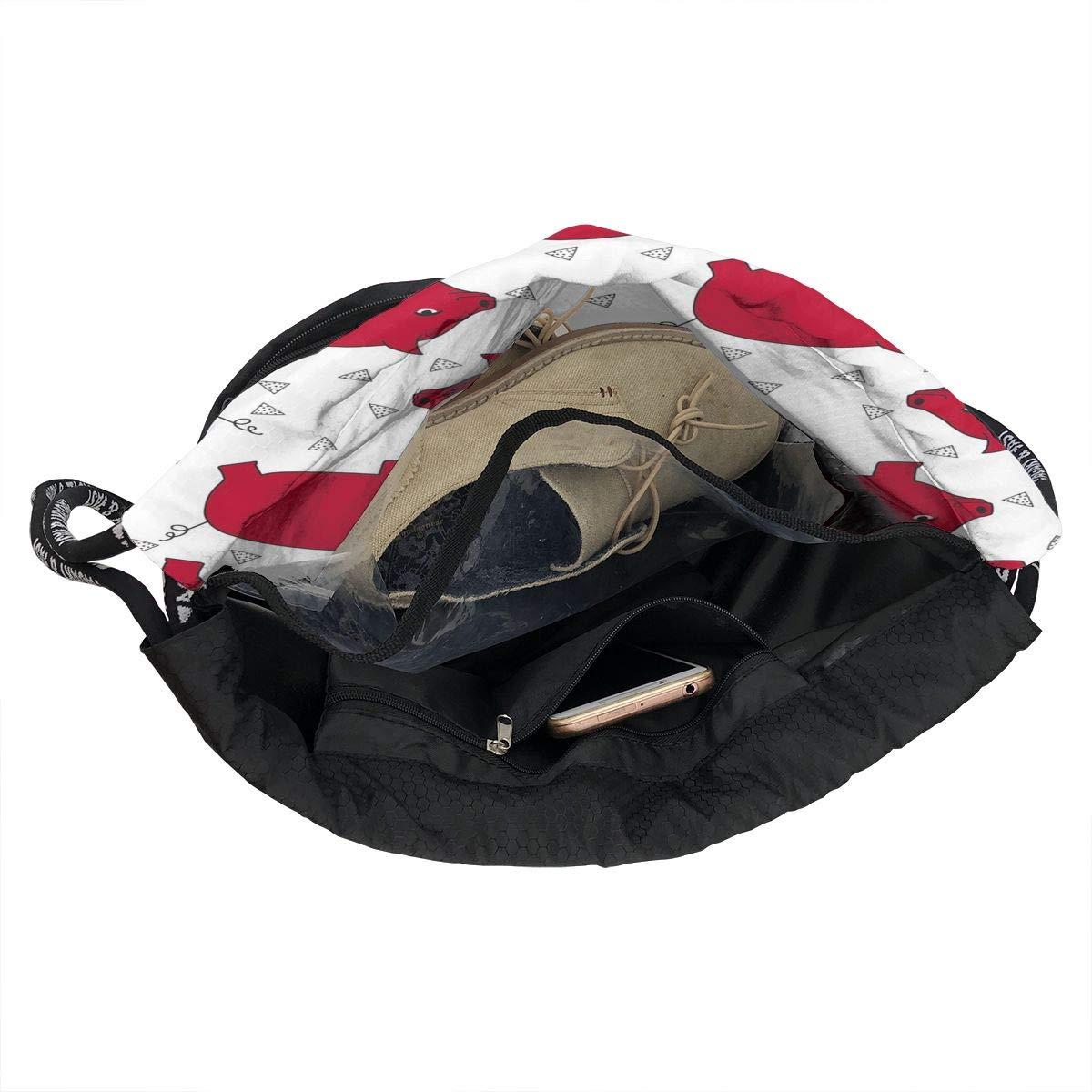 Zol1Q Lightweight Waterproof Large Storage Drawstring Bag for Men /& Women Red Cartoon Pig Cinch Backpack Sackpack Tote Sack