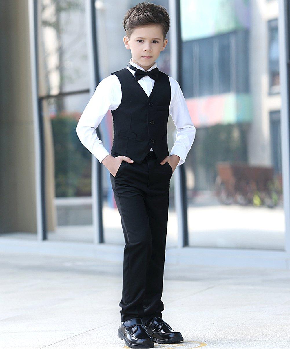 YuanLu Boys Colorful Formal Suits 5 Piece Slim Fit Dresswear Suit Set (Black, 14) by YuanLu (Image #2)