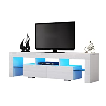premium selection 09275 621fe TV Cabinet, Funime Modern TV Unit Stand 160cm White Matt and White High  Gloss Free LED RGB Lights Home TV Furniture