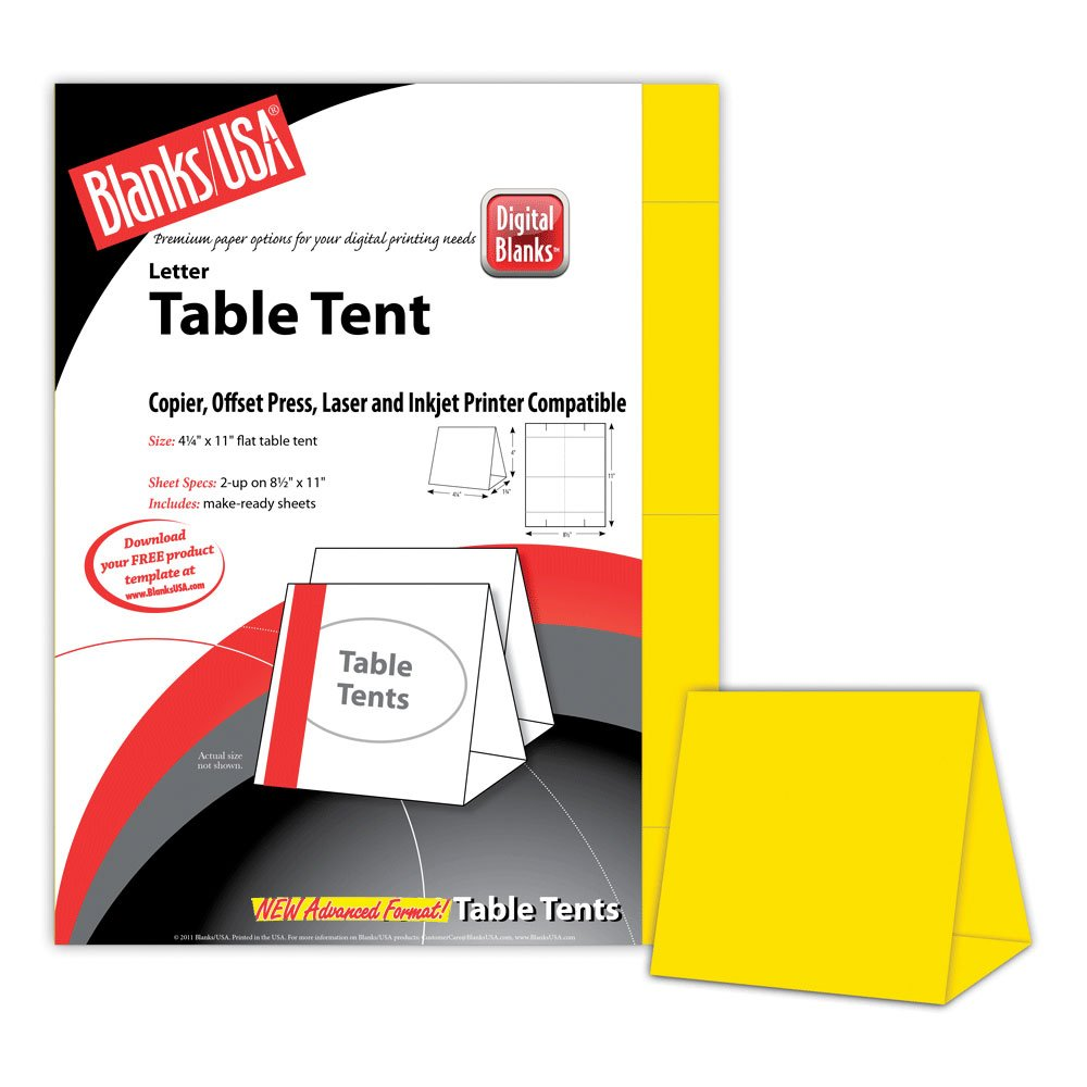 Digital Table Tents - 500 Pack (Bright Yellow) by Blanks/USA (Image #1)