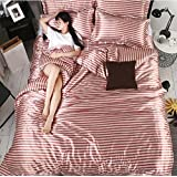 BEIRU Summer Nude European-style Double-sided Washing Ice Silk Four Sets Of Printing Bed Sheets Bedclothes Double ZXCV (Color : Red bar, Size : 220240cm)