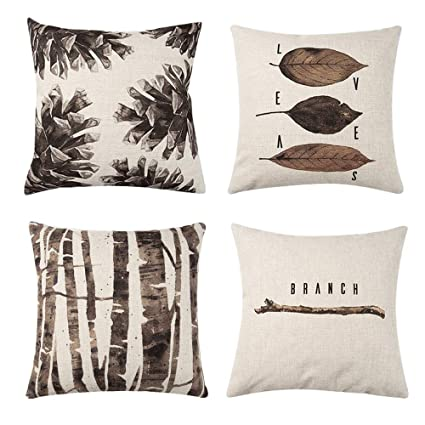 Cool Gadewake Set Of 4 Brown Tree Striped Decorative Throw Pillow Covers 18 X 18 Inches Retro Leaf Cotton Linen Square Cushion Covers For Gmtry Best Dining Table And Chair Ideas Images Gmtryco