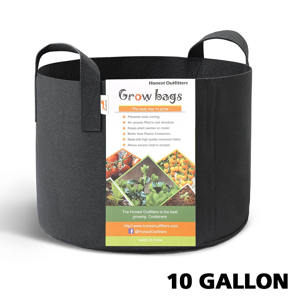 Black HONEST OUTFITTERS 5-Pack 10 Gallon Smart Grow Bags for Potato//Plant Container//Aeration Fabric Pots with Handles