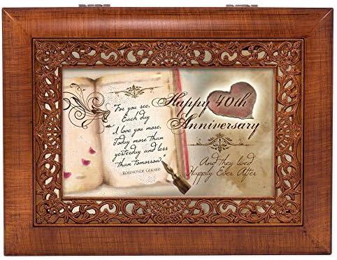 Cottage Garden Happy 40Th Anniversary Woodgrain Petite Music Box//Jewelry Box Plays Amazing Grace
